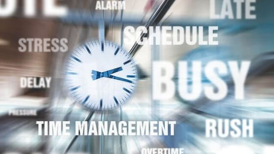 an illustration of a cluster of word images referring to time management, scheduling, rushing, delay, busy, late, alarm, stress